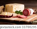 Dry salami or sausage with cheese and herbs 33700295