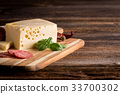 Dry salami or sausage with cheese and herbs 33700302