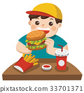 A Boy eat hamburger with french fries and soda 33701371