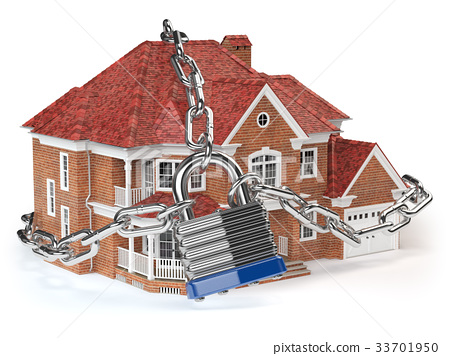 House with chain and lock. Home security concept. 33701950