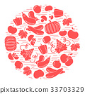 seasonal fruits and vegetables in circle. Tomato 33703329