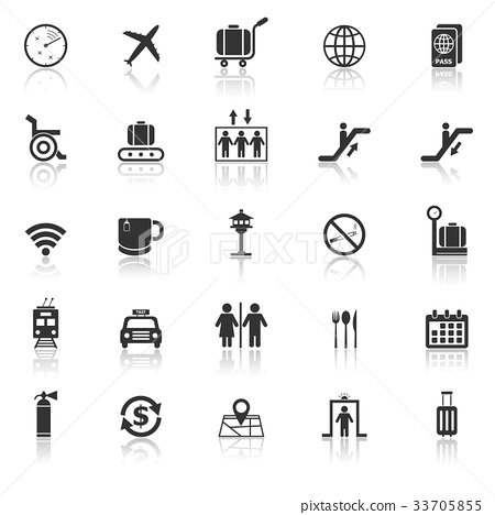 Airport icons with reflect on white background 33705855