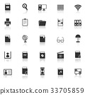 Library icons with reflect on white background 33705859