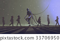 robot walking to different way among the people 33706950