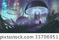 man walking toward the mushroom house 33706951