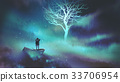 man on a boat in the outer space with clouds 33706954