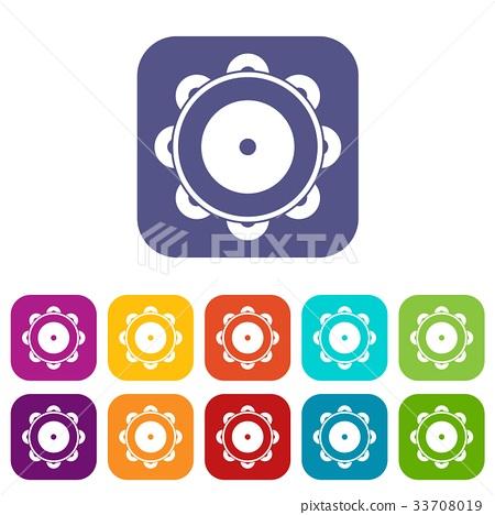 Tambourine icons set 33708019