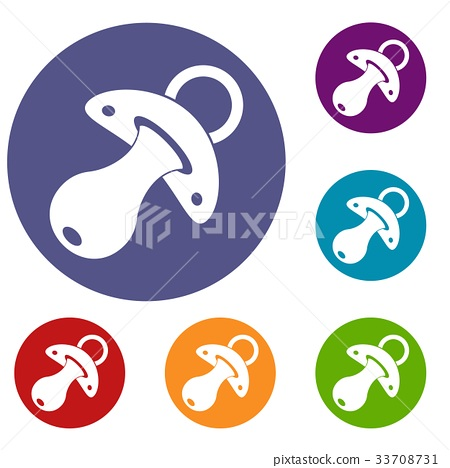 Baby pacifier icons set 33708731