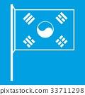 South Korea flag icon white 33711298