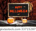 Happy Halloween on blackboard with easel 33715287