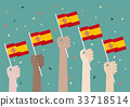 Hands Holding Up Spain Flags 33718514