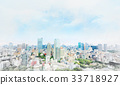 Japan city view & hand drawn sketch illustration 33718927