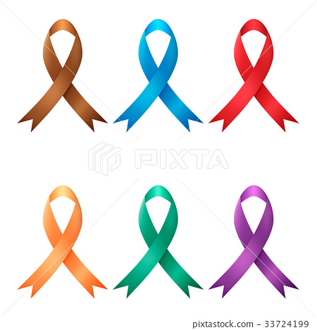 Multicolored ribbon awareness ribbon 33724199