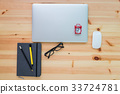 Business equipment on wooden textured of table top 33724781