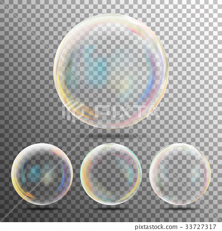 Realistic Soap Bubbles With Rainbow Reflection 33727317