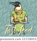 Vector Illustration of penguin with burger 33728055