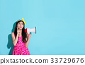 bullhorn, female, megaphone 33729676