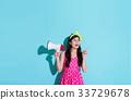 bullhorn, female, megaphone 33729678