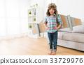 little girl wearing fly wings play as astronaut 33729976