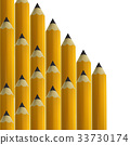 Yellow pencils on white background. 33730174