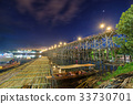 Famous wooden mon bridge in sangkhlaburi 33730701