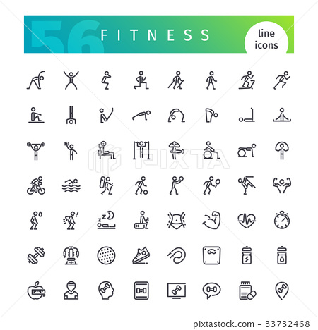 Fitness Line Icons Set 33732468