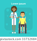 Medical Doctor With Young Man On Wheel Chair Happy 33732684