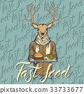 Vector Illustration of deer with burger  33733677