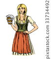 a woman in traditional Belgian or Bavarian clothes 33734492