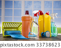 Group of assorted cleaning and window background 33738623