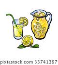 vector lemonade jug, glass of lemon juice, straw 33741397