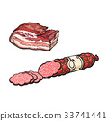 vector sketch salami sausage and lard isolated 33741441