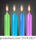 Burning 3D Realistic Dinner Candles Vector 33741827