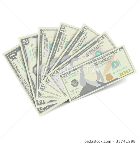 Dollars Banknote Stack Vector. American Money 33741899