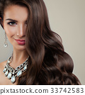 Fashion Model with Diamond Earrings and Jewelry  33742583
