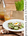 Felicious and fresh salad with cucumber, eggs and 33744407