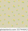 Small tiny yellow flowers with leaves scattered on 33744642