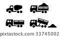 Set of Dumper and concrete mixer truck icons 33745002