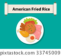 American fried rice in flat style,Top view, vector 33745009