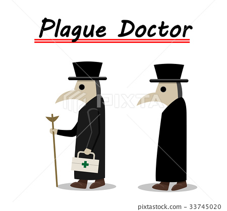 Plague doctor side view in flat, vector 33745020
