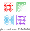 Set of square Chinese pattern window frame 33745036
