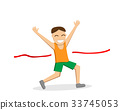 Happy male runner cross the finish line, vector 33745053