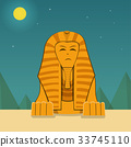 Front view, Sphinx at night time, vector landscape 33745110