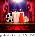 Cinema background with a film reel, popcorn 33745359