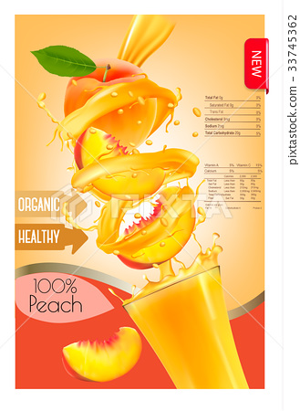 Label of peach juice splash in a glass.  33745362