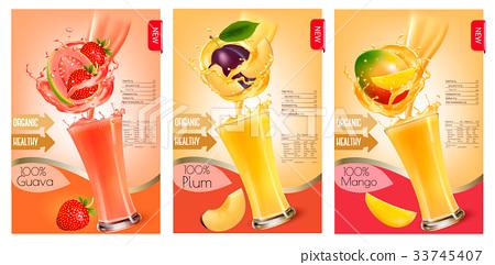 Set of labels of of fruit in juice splashes.  33745407