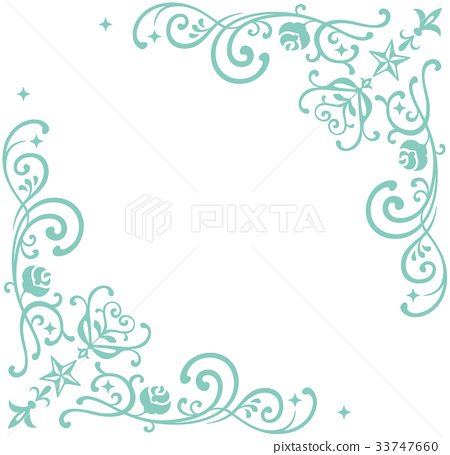 Decorative frame of stars and moths (green) 33747660