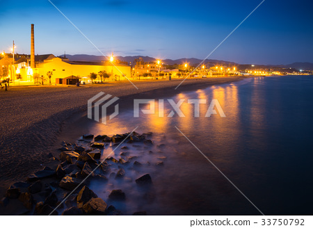 City beach in evening. Badalona 33750792