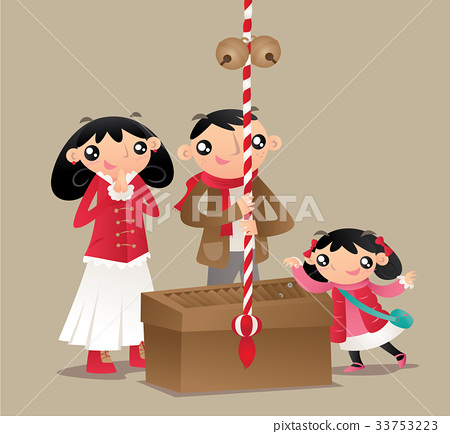 A family prays and worships at Japanese temple 33753223