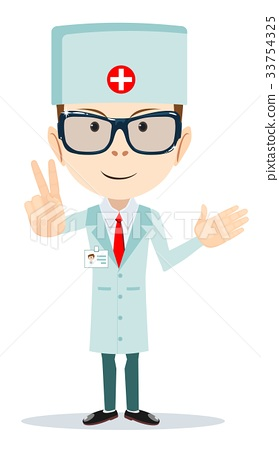 funny cartoon illustration of a friendly doctor 33754325
